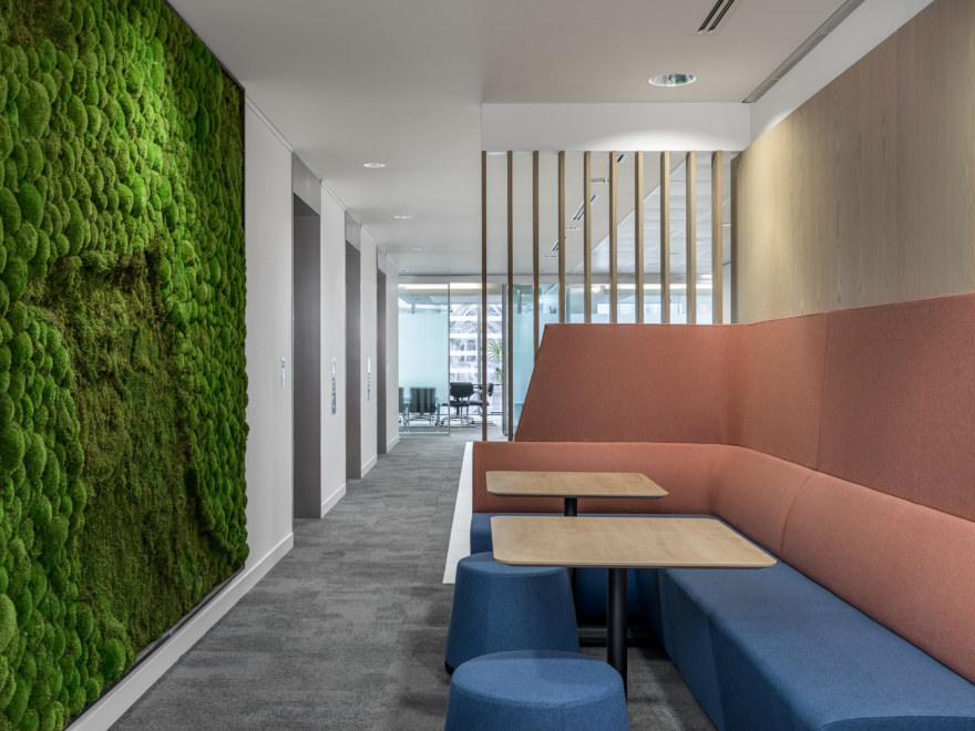 Soft seating area and moss wall