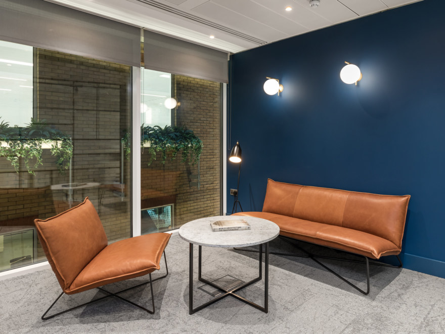 Office meeting room with standout feature wall & biophilia