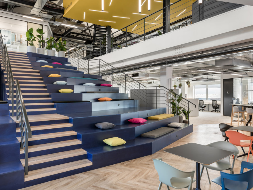 Bleacher seating in office space