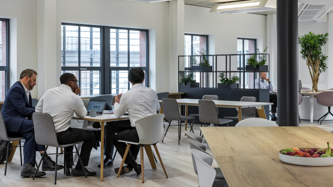 View through different workspaces in office fit out