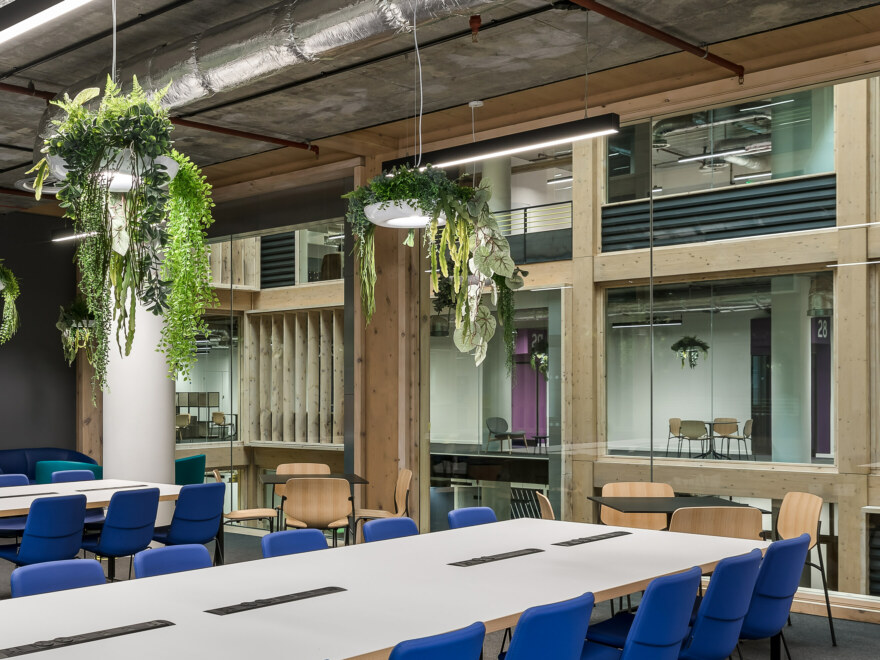 Workspace area featuring wide windows and biophilia